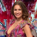 Pampita Ardohain cleavage show off in Bailando 2016