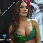 Rocio Robles hot cleavage in a green top (busty brunette)