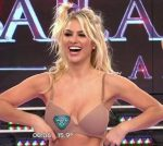 Ailen Bechara in Bailando 2015 (lingerie and underboob oops)