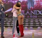 Barbie Franco in Bailando 2015 (hot bum in jeans shorts)