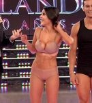 Celeste Muriega in Bailando 2015 (busty brunette in undies)