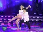 Macarena Rinaldi in Bailando 2015 (fit blonde in nightgown)