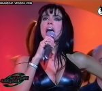 Marixa Balli in a black latex outfit (tight leggings and huge tits)