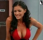 Pamela David big boobs in a red dress (sexy cleavage)